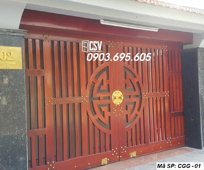 Mẫu cửa sắt giả gỗ CGG 01
