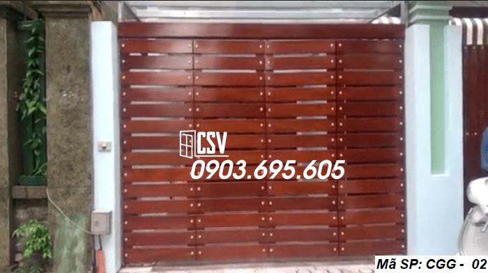 Mẫu cửa sắt giả gỗ CGG 02