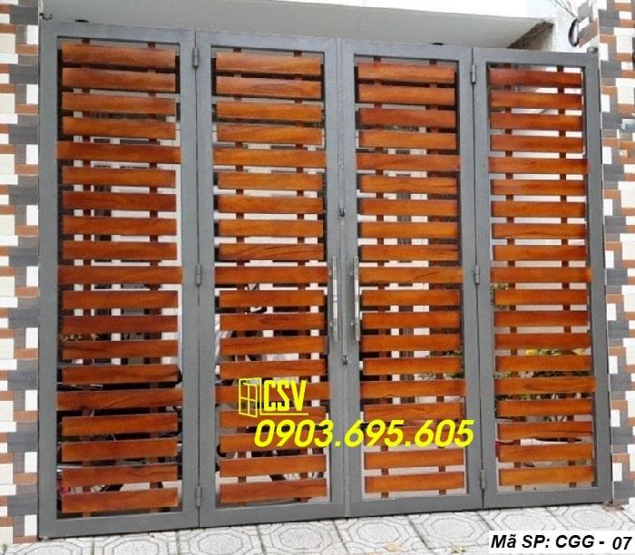 Mẫu cửa sắt giả gỗ CGG 07