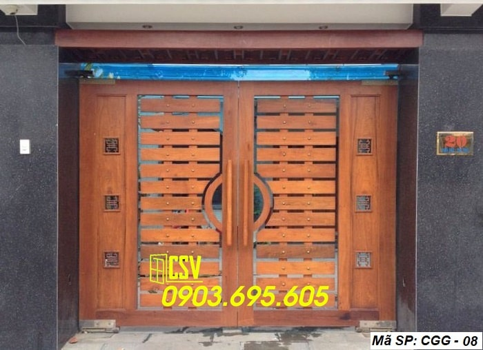 Mẫu cửa sắt giả gỗ CGG 08