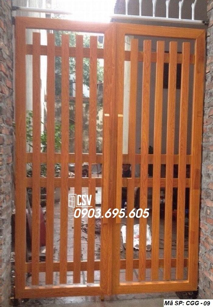 Mẫu cửa sắt giả gỗ CGG 09