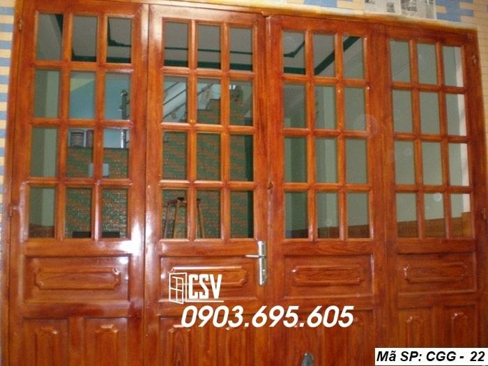 Mẫu cửa sắt giả gỗ CGG 22
