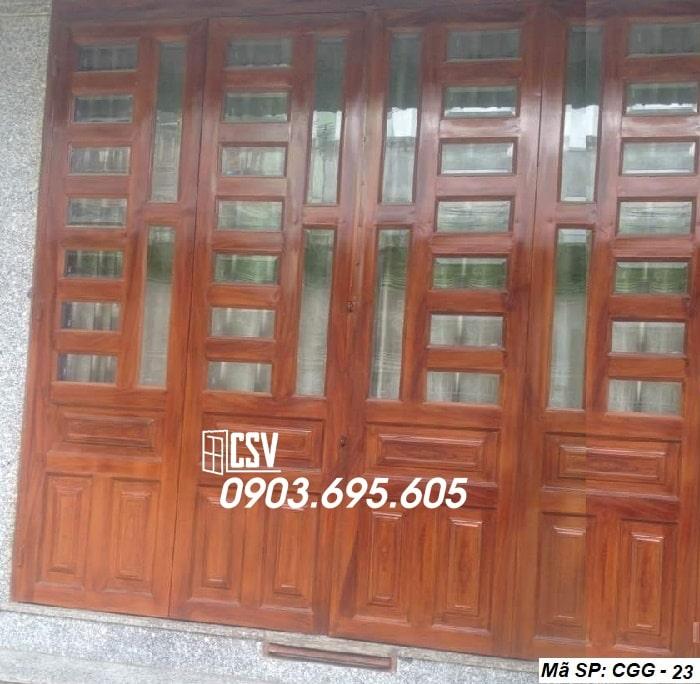 Mẫu cửa sắt giả gỗ CGG 23