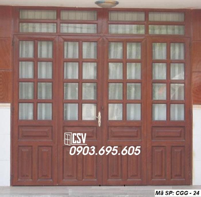 Mẫu cửa sắt giả gỗ CGG 24