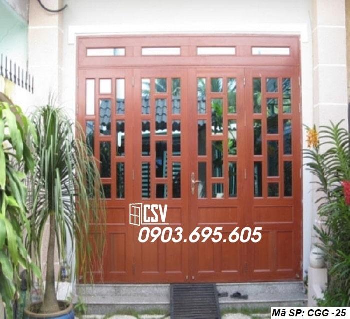 Mẫu cửa sắt giả gỗ CGG 25