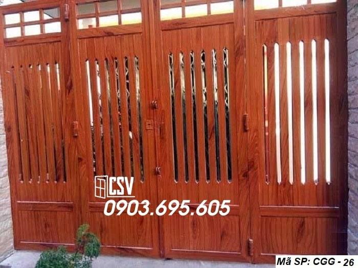 Mẫu cửa sắt giả gỗ CGG 26