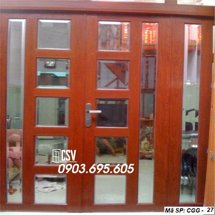 Mẫu cửa sắt giả gỗ CGG 27