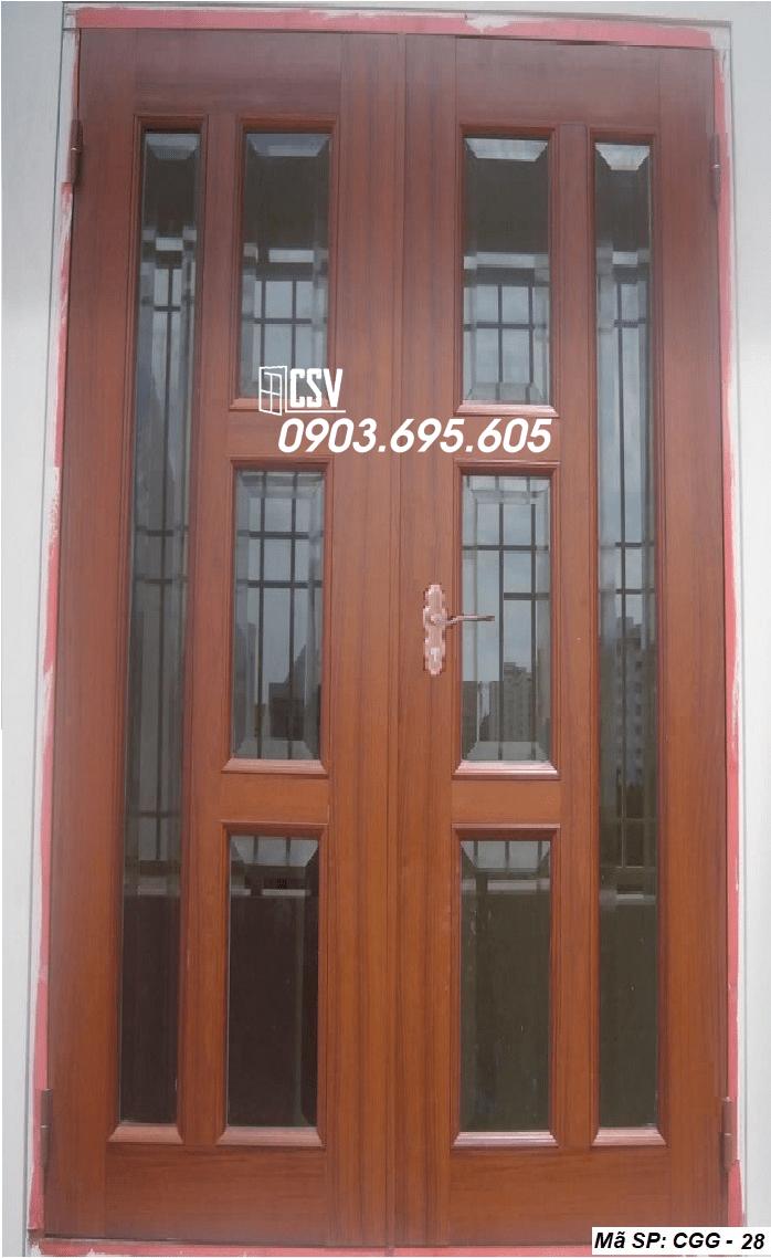Mẫu cửa sắt giả gỗ CGG 28