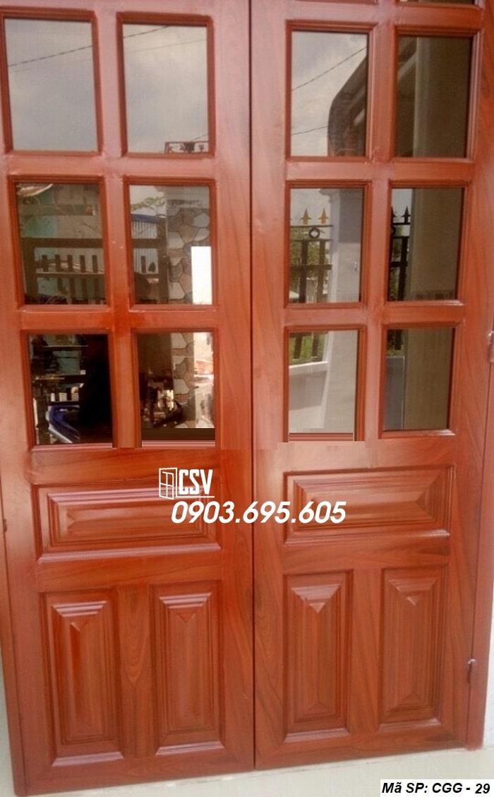 Mẫu cửa sắt giả gỗ CGG 29