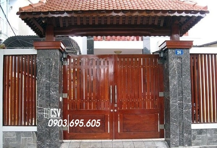 Mẫu cửa sắt giả gỗ 02