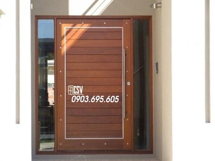 Mẫu cửa sắt giả gỗ 07