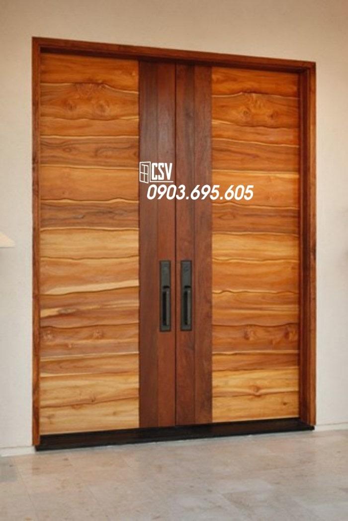 Mẫu cửa sắt giả gỗ 09