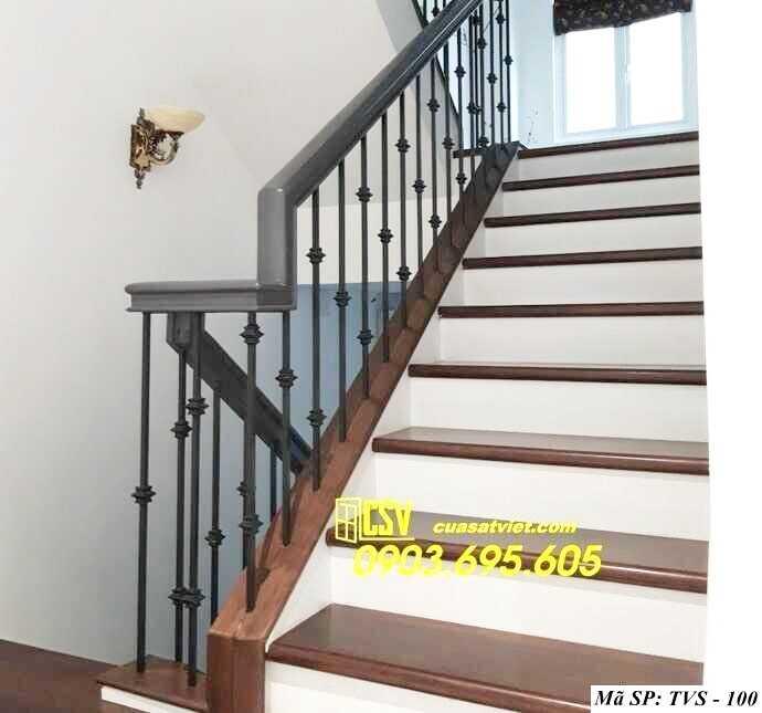 Mẫu tay vịn cầu thang gỗ đẹp TVS 100