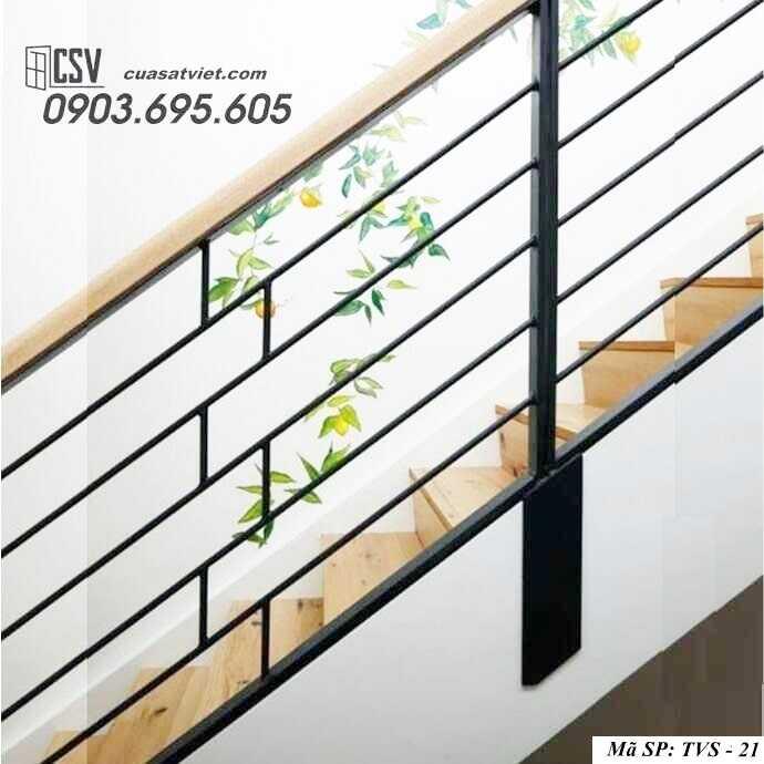 Mẫu tay vịn cầu thang gỗ đẹp TVS 21
