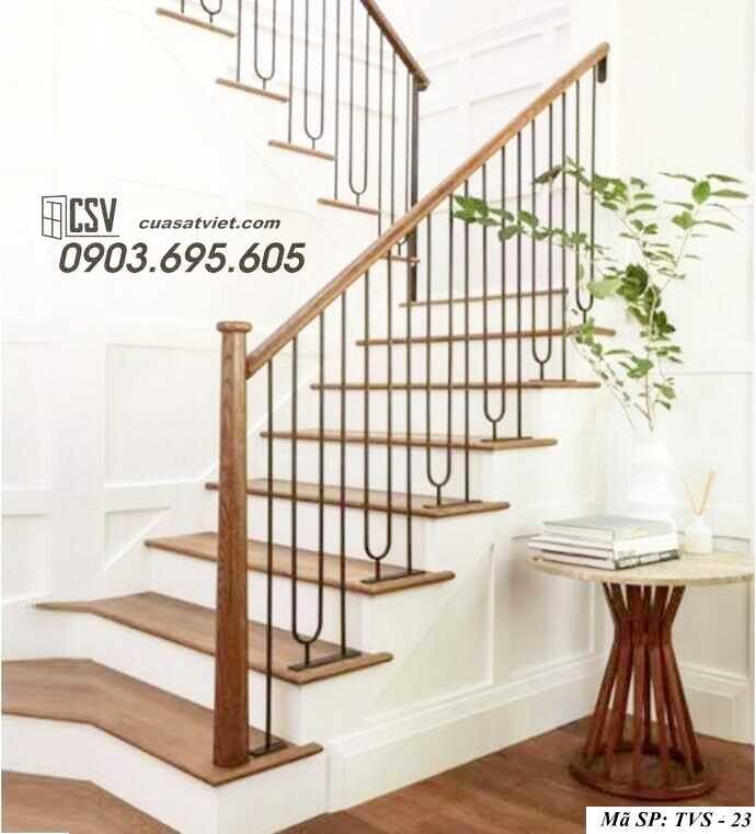 Mẫu tay vịn cầu thang gỗ đẹp TVS 23