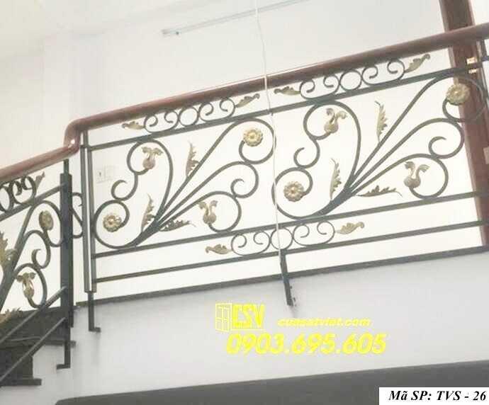 Mẫu tay vịn cầu thang gỗ đẹp TVS 26