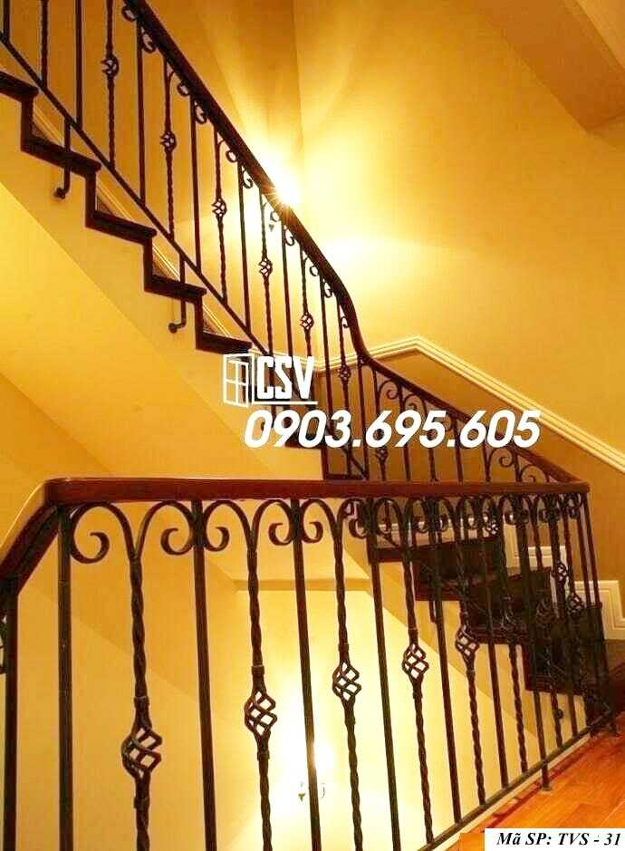 Mẫu lan can cầu thang sắt đẹp TVS 31