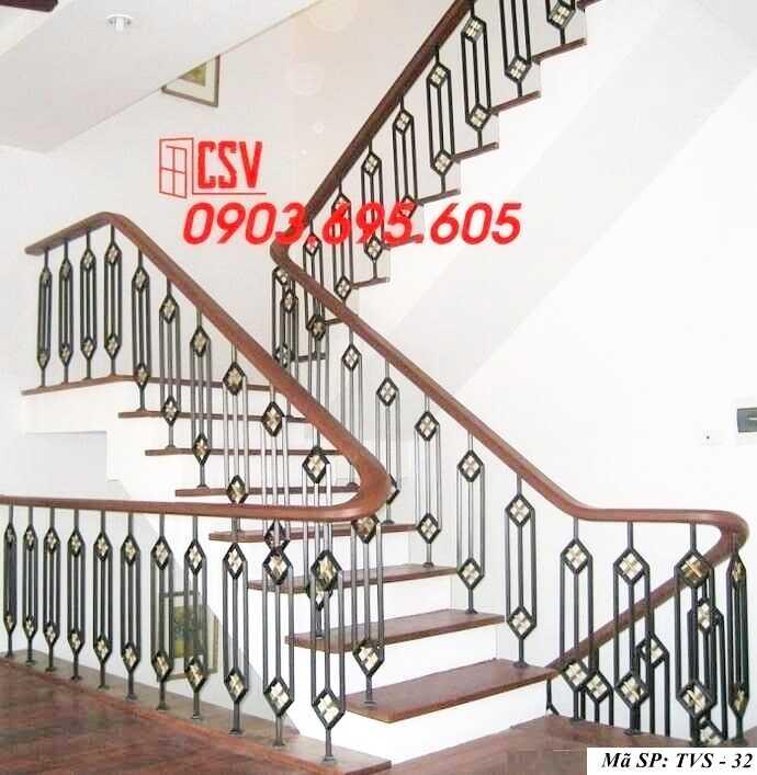 Mẫu tay vịn cầu thang gỗ đẹp TVS 32
