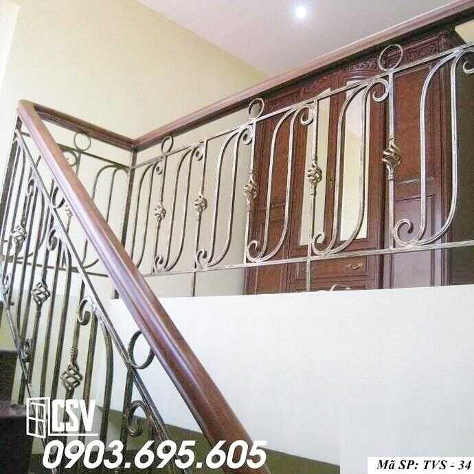 Mẫu tay vịn cầu thang gỗ đẹp TVS 34