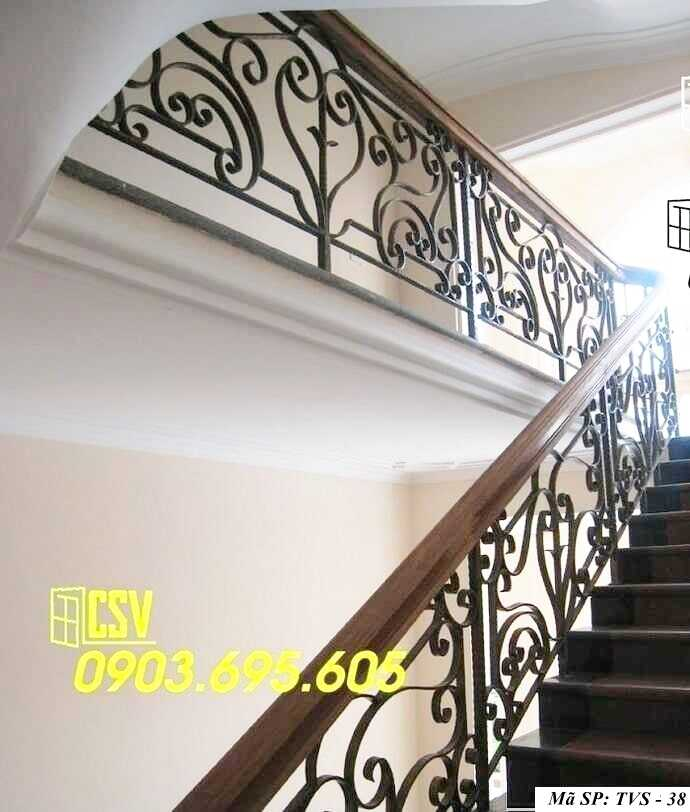 Mẫu tay vịn cầu thang gỗ đẹp TVS 38