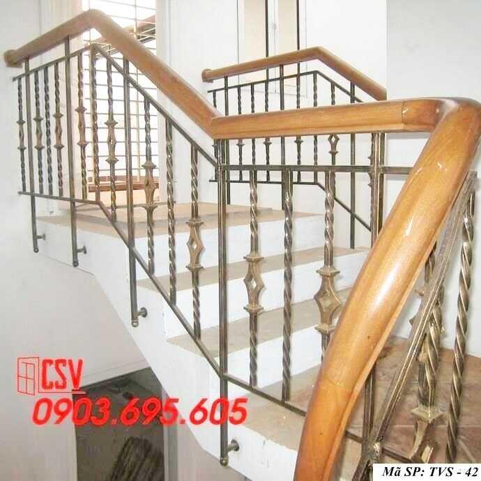 Mẫu tay vịn cầu thang gỗ đẹp TVS 42