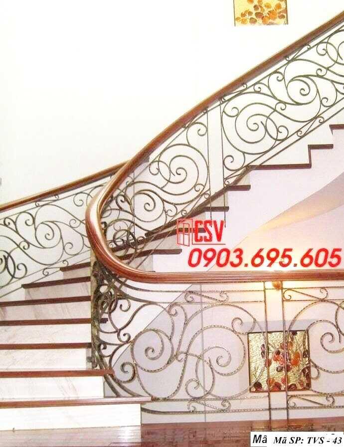 Mẫu tay vịn cầu thang gỗ đẹp TVS 43