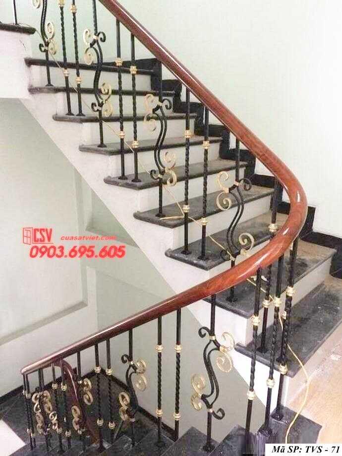 Mẫu tay vịn cầu thang gỗ đẹp TVS 71