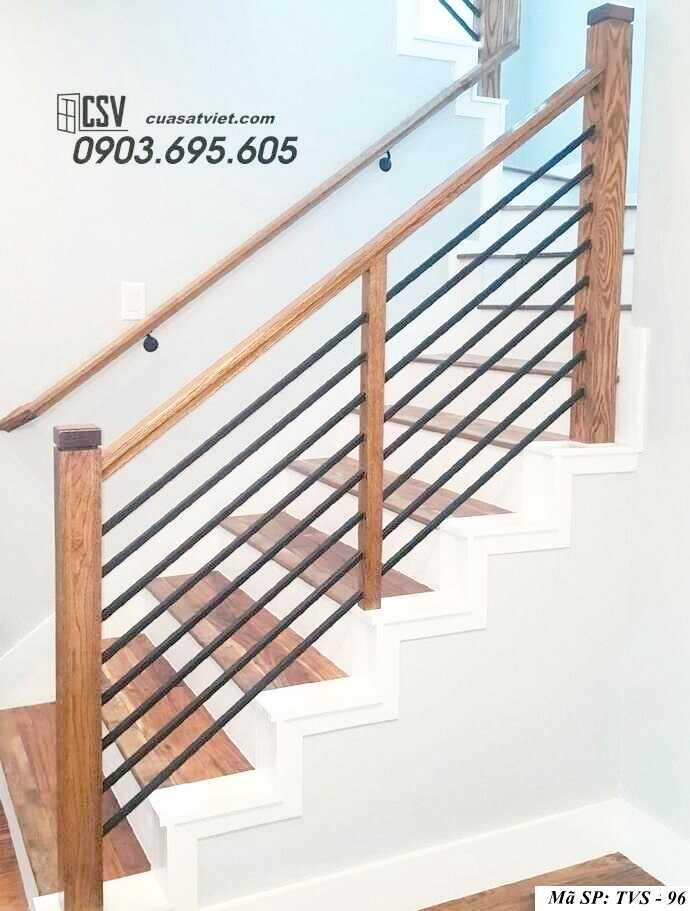 Mẫu tay vịn cầu thang gỗ đẹp TVS 96
