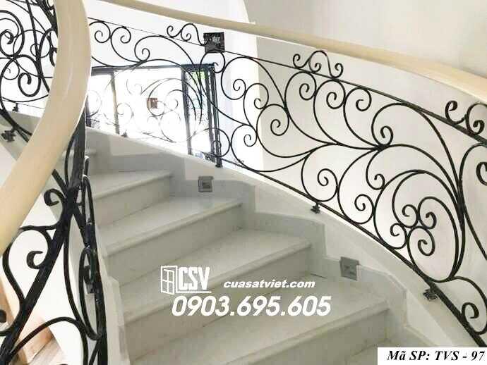 Mẫu tay vịn cầu thang gỗ đẹp TVS 97